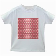 Coral And White Kitchen Utensils Pattern Kids White T-Shirts