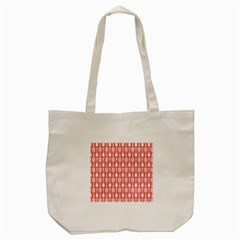 Coral And White Kitchen Utensils Pattern Tote Bag (Cream)