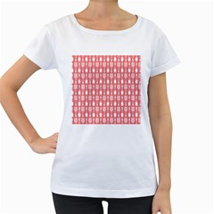 Coral And White Kitchen Utensils Pattern Women s Loose-Fit T-Shirt (White)
