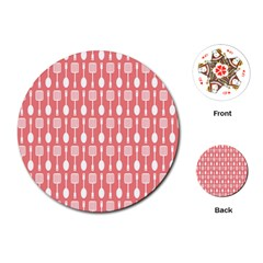Coral And White Kitchen Utensils Pattern Playing Cards (Round)