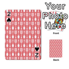 Coral And White Kitchen Utensils Pattern Playing Cards 54 Designs