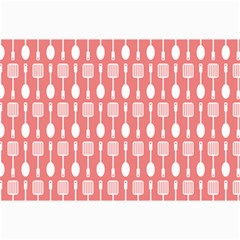 Coral And White Kitchen Utensils Pattern Collage 12  x 18