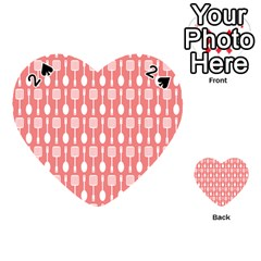 Coral And White Kitchen Utensils Pattern Playing Cards 54 (Heart)