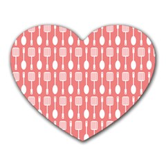 Coral And White Kitchen Utensils Pattern Heart Mousepads