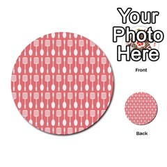 Coral And White Kitchen Utensils Pattern Multi Purpose Cards (round)