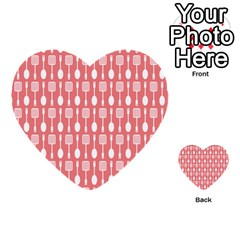 Coral And White Kitchen Utensils Pattern Multi Purpose Cards (heart)
