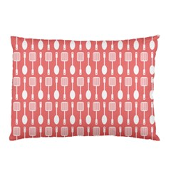 Coral And White Kitchen Utensils Pattern Pillow Cases