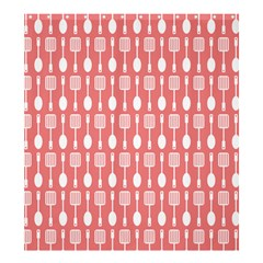 Coral And White Kitchen Utensils Pattern Shower Curtain 66  x 72  (Large)