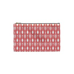 Coral And White Kitchen Utensils Pattern Cosmetic Bag (small)