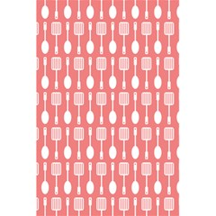 Coral And White Kitchen Utensils Pattern 5 5  X 8 5  Notebooks