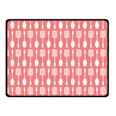 Coral And White Kitchen Utensils Pattern Fleece Blanket (Small)