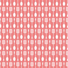 Coral And White Kitchen Utensils Pattern Magic Photo Cubes