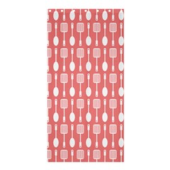 Coral And White Kitchen Utensils Pattern Shower Curtain 36  x 72  (Stall)