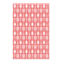 Coral And White Kitchen Utensils Pattern Shower Curtain 48  x 72  (Small)