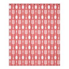 Coral And White Kitchen Utensils Pattern Shower Curtain 60  x 72  (Medium)