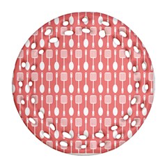 Coral And White Kitchen Utensils Pattern Ornament (Round Filigree)