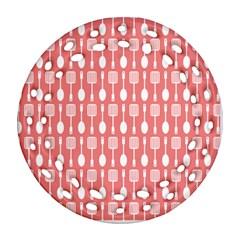 Coral And White Kitchen Utensils Pattern Round Filigree Ornament (2Side)