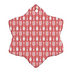 Coral And White Kitchen Utensils Pattern Snowflake Ornament (2-Side)