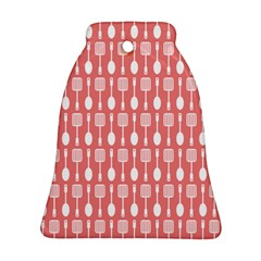 Coral And White Kitchen Utensils Pattern Bell Ornament (2 Sides)
