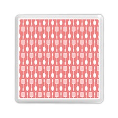 Coral And White Kitchen Utensils Pattern Memory Card Reader (Square)