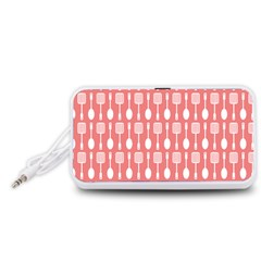 Coral And White Kitchen Utensils Pattern Portable Speaker (White)