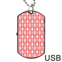 Coral And White Kitchen Utensils Pattern Dog Tag Usb Flash (two Sides)