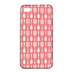 Coral And White Kitchen Utensils Pattern Apple iPhone 4/4s Seamless Case (Black)