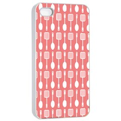 Coral And White Kitchen Utensils Pattern Apple Iphone 4/4s Seamless Case (white)