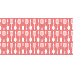 Coral And White Kitchen Utensils Pattern YOU ARE INVITED 3D Greeting Card (8x4)