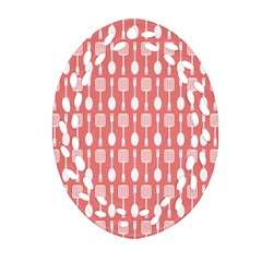 Coral And White Kitchen Utensils Pattern Ornament (oval Filigree)
