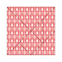 Coral And White Kitchen Utensils Pattern Acrylic Tangram Puzzle (6  x 6 )