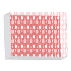 Coral And White Kitchen Utensils Pattern 5 x 7  Acrylic Photo Blocks