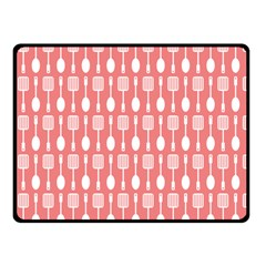 Coral And White Kitchen Utensils Pattern Double Sided Fleece Blanket (Small)