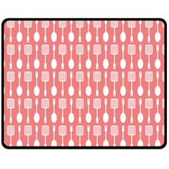Coral And White Kitchen Utensils Pattern Double Sided Fleece Blanket (Medium)