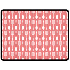 Coral And White Kitchen Utensils Pattern Double Sided Fleece Blanket (large)