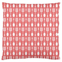 Coral And White Kitchen Utensils Pattern Large Flano Cushion Cases (One Side)