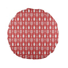 Coral And White Kitchen Utensils Pattern Standard 15  Premium Flano Round Cushions