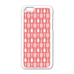 Coral And White Kitchen Utensils Pattern Apple Iphone 6 White Enamel Case