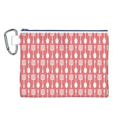Coral And White Kitchen Utensils Pattern Canvas Cosmetic Bag (L)