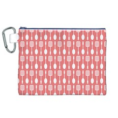 Coral And White Kitchen Utensils Pattern Canvas Cosmetic Bag (xl)