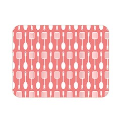 Coral And White Kitchen Utensils Pattern Double Sided Flano Blanket (Mini)