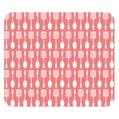 Coral And White Kitchen Utensils Pattern Double Sided Flano Blanket (small)