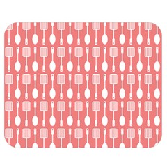 Coral And White Kitchen Utensils Pattern Double Sided Flano Blanket (Medium)