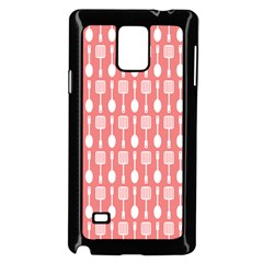 Coral And White Kitchen Utensils Pattern Samsung Galaxy Note 4 Case (Black)