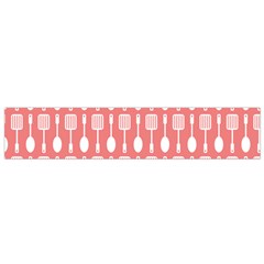 Coral And White Kitchen Utensils Pattern Flano Scarf (Small)