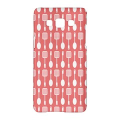Coral And White Kitchen Utensils Pattern Samsung Galaxy A5 Hardshell Case