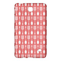 Coral And White Kitchen Utensils Pattern Samsung Galaxy Tab 4 (7 ) Hardshell Case