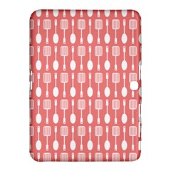 Coral And White Kitchen Utensils Pattern Samsung Galaxy Tab 4 (10.1 ) Hardshell Case