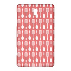 Coral And White Kitchen Utensils Pattern Samsung Galaxy Tab S (8 4 ) Hardshell Case