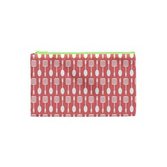 Coral And White Kitchen Utensils Pattern Cosmetic Bag (XS)